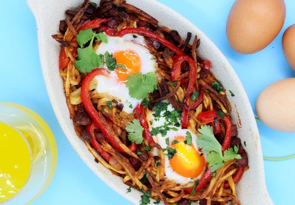 Refeições de qualidade em casa, Ovos Rotos com Chouriço