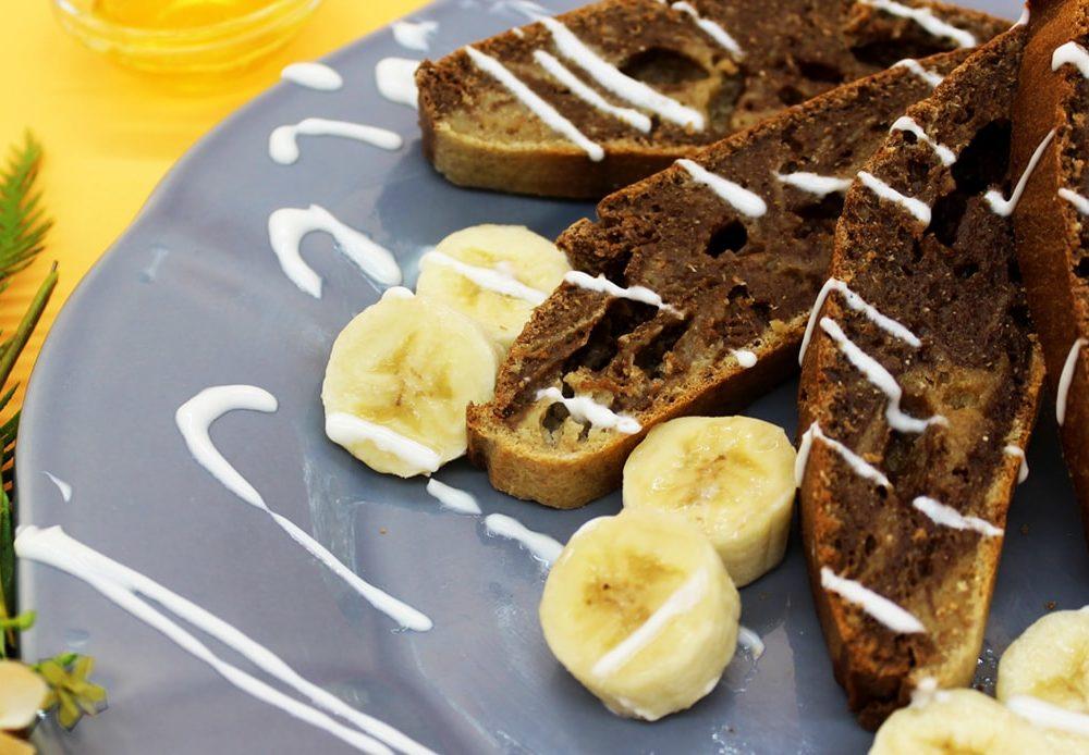 Refeições de qualidade em casa, bolo mármore de banana
